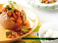 Mexican-style baked potatoes with mince and avocado