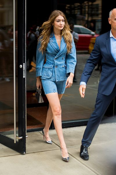 Gigi Hadid is seen in NoHo on October 11, 2018 in New York City.