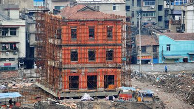 The 100 year old three storey historic building in central China's Hubei province