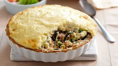 Salmon and potato pie