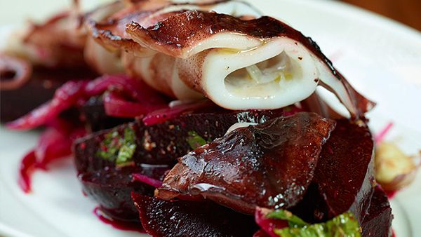 MoVida's calamari cooked in olive oil with a spiced beetroot salad