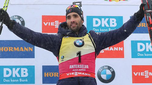 Martin Fourcade of France will look to extend his Olympic gold medal streak to three in South Korea (AAP).