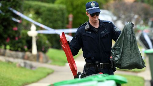 NSW Police at the scene of a deadly home invasion overnight (Joel Carrett).