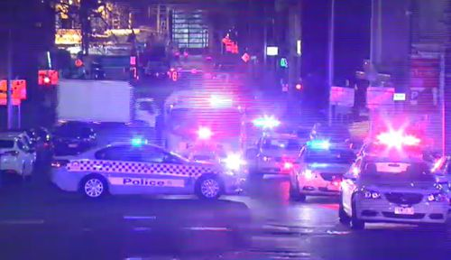 A massive police presence blocked roads in Melbourne CBD. Picture: 9NEWS