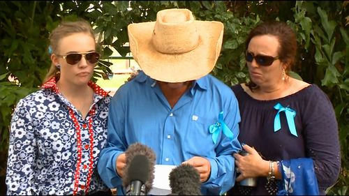 """Meg, Tick and Kate Everett deliver an emotional tribute to their """"kind, gentle and loving"""" little girl. (9NEWS)"""
