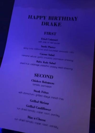 Drake's birthday menu
