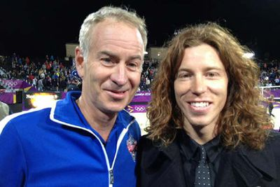 Professional snowboarder/skateboarder and two-time Olympic gold medalist, Shaun White with former world No. 1 tennis player John McEnroe at the beach volleyball.