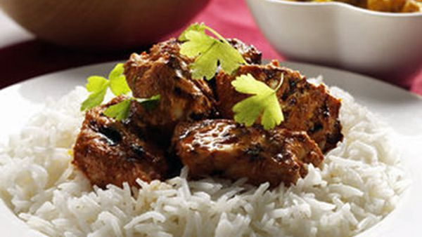 Basmati rice and tandoori chicken