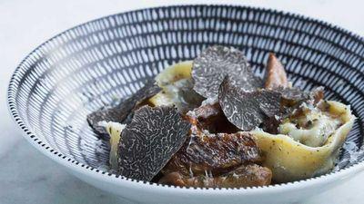Mushroom tortellini with pine mushroom ragout, truffle pec, fresh shaved truffles