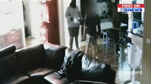 The gang were caught on security cameras installed at the family's home.