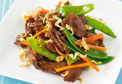 "Recipe: <a href=""/recipes/ibeef/9051611/beef-and-snow-pea-stir-fry-with-crunchy-noodles"" target=""_top"">Beef and snow pea stir-fry</a>"