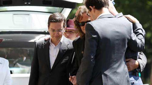 Tori Johnson's partner Thomas Zinn outside the memorial service. (AAP)
