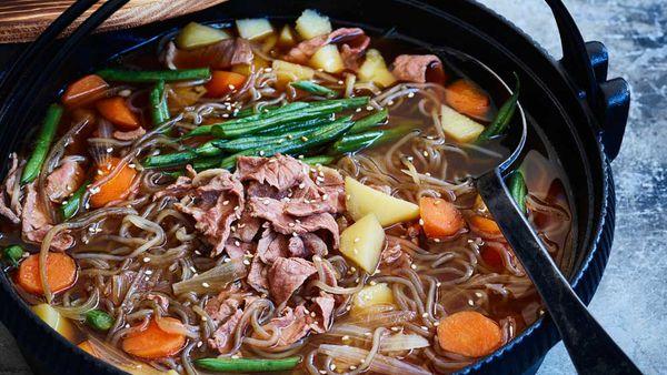 Japanese style beef and potato hotpot