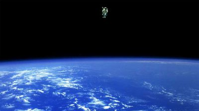 Mission Specialist Bruce McCandless II is seen further away from the confines and safety of his ship than any previous astronaut has ever been. (NASA)