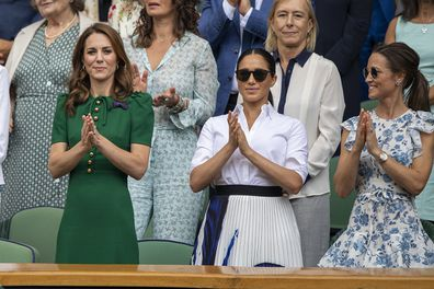 Pippa joins Kate and Meghan at Wimbledon on July 13, 2019 in London, England.