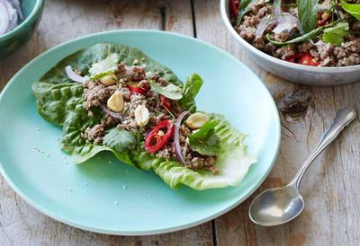 Beef larb with roasted rice