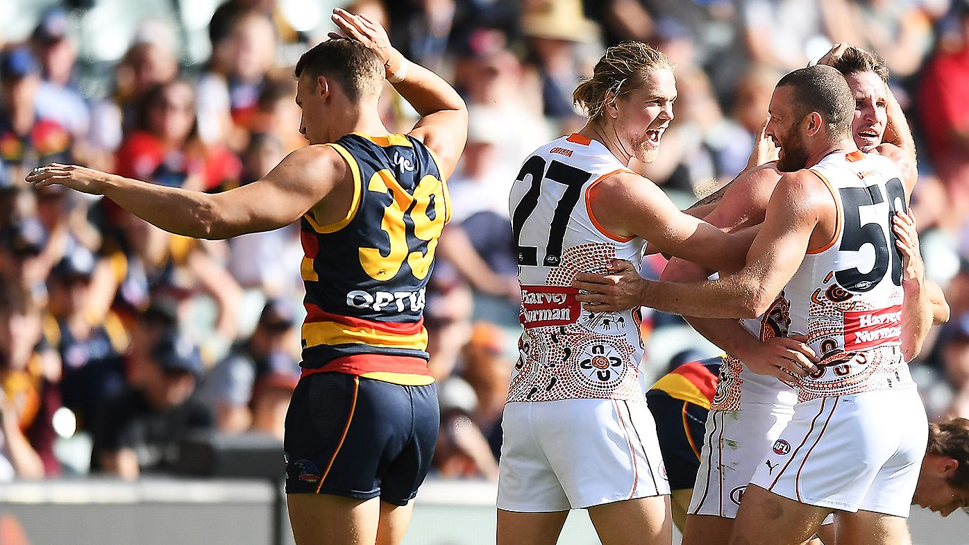 Jesse Hogan and returning Lachie Whitfield spark GWS Giants against woeful Adelaide Crows
