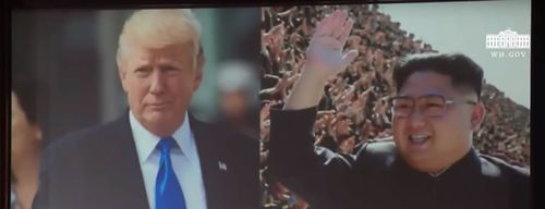 This movie trailer was shown at the meeting with Mr Trump and Kim as well as before the US President's press conference.
