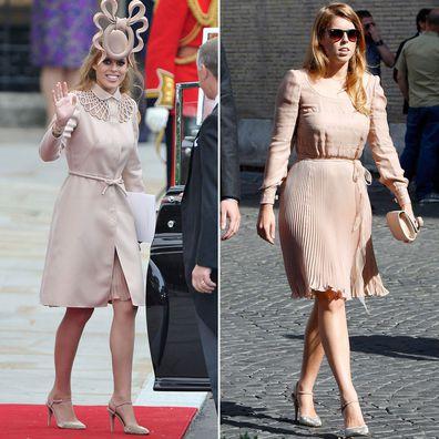 Princess Beatrice at royal weddings in 2011 and 2014