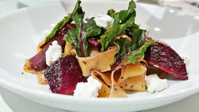 Pappardelle all'uovo with smoked beetroot and goat's cheese
