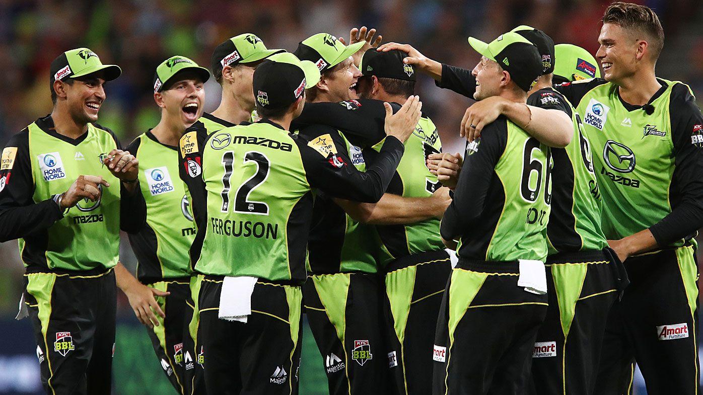 Thunder celebrate the win over Perth