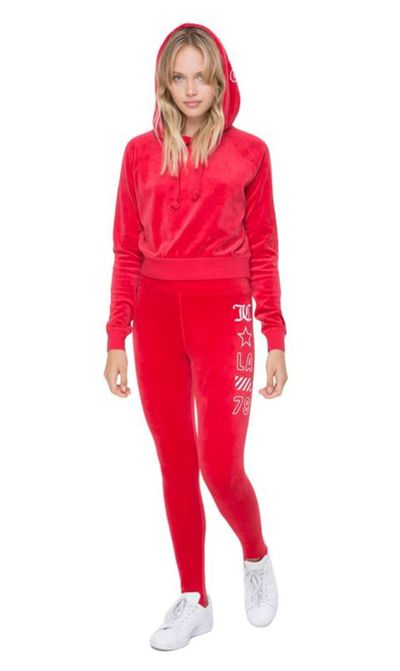"<p><a href=""http://www.juicycouture.com/stretch-velour-jcla-stirrup-legging/d/7958C16786?CategoryId=200"" target=""_blank"" draggable=""false"">Juicy Couture velour stirrup legging</a>, $159.20, and <a href=""http://www.juicycouture.com/stretch-velour-jcla-stirrup-legging/d/7958C16786?CategoryId=200"" target=""_blank"" draggable=""false"">velour hooded pullover</a>, $191.70</p>"