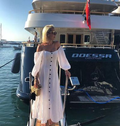 Roxy Jacenko is maxi dress from Mara Hoffman in Capri Italy