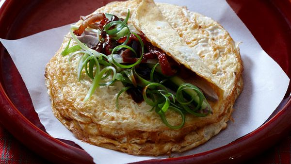 Peking duck omelettes