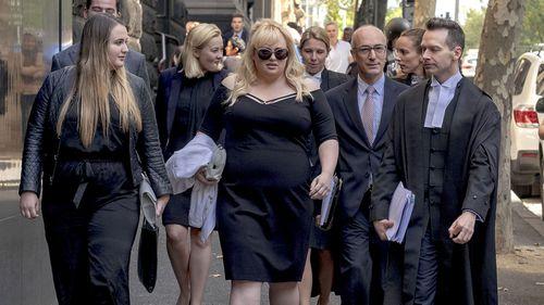 Australian actor Rebel Wilson leaves the Court of Appeal in Melbourne, Australia, Thursday, April 19, 2018.