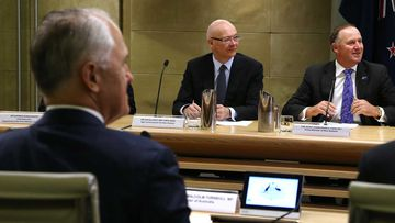 Prime Minister Malcolm Turnbull (left) meets with NZ PM John Key (far right). (AAP)