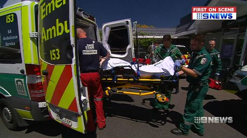 The plumber was rushed to Royal Adelaide Hospital where he remains in a serious condition.