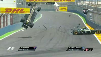 Australia's Mark Webber in a crash at the Valencia Grand Prix in 2010