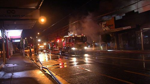 The roof of the supermarket collapsed in the intense blaze. (9NEWS)