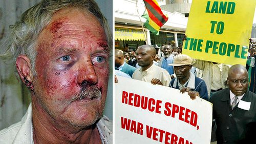 Bill Rogers, a white farmer bashed by Mugabe loyalists in 2008 during the state-backed takeover of  farms.(Photos: EPA).