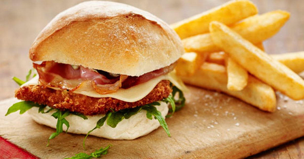 Pork Schnitzel Burger With Swiss Cheese And Pancetta 9kitchen