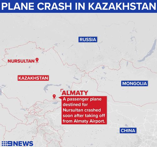 A plane crashed soon after take-off in Almaty, Kazakhstan.