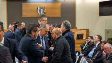 A mihi whakatau is held at Whakatāne District Court District Court prior to the start of hearings where 10 organisations and the three individuals were charged over the Whakaari/White Island eruption.