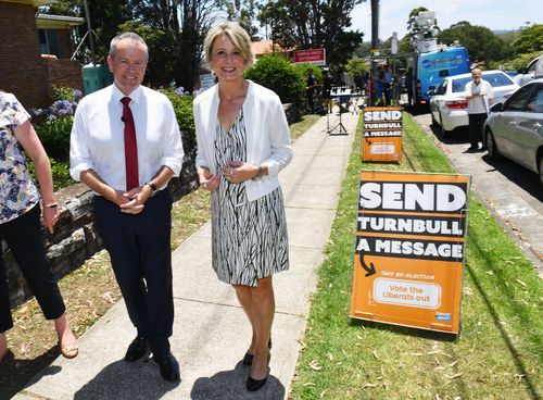 Leader of the Opposition Bill Shorten and Labor candidate for Bennelong Kristina Keneally at Ryde Hospital yesterday. (AAP)