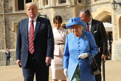 Donald and Melania Trump meet the Queen at Windsor Castle in 2018.