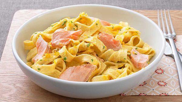Creamy salmon fettuccini pasta