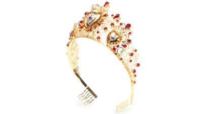 "<a href=""http://www.mytheresa.com/en-au/catalog/product/view/id/428678/s/crystal-embellished-tiara/category/13442/"" target=""_blank"">Crystal-embellished Tiara, $4150, Dolce & Gabbana</a>"
