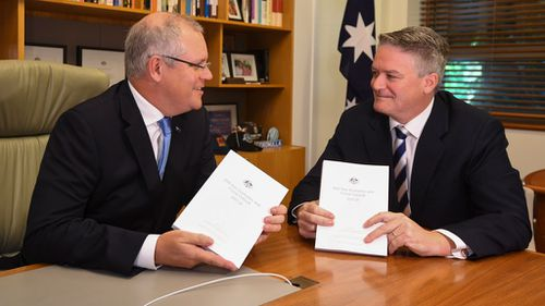 Treasurer Scott Morrison and Finance Minister Mathias Cormann. (AAP)