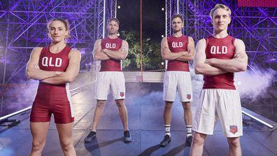 Australian Ninja Warrior State of Origin Team QLD.  Skye Haddy, Ryan Solomon, Fred Dorrington and and Rob Patterson.