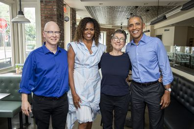 President Barack Obama and Michelle Obama of Higher Ground Productions with directors Julia Reichart and Steven Bognar.