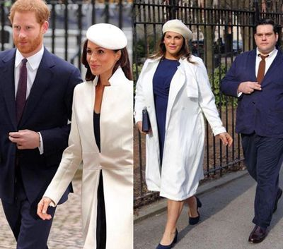 Plus-size bloggers Katie Sturino and Ryan Dziadul replicating Prince Harry and Meghan Markle's look