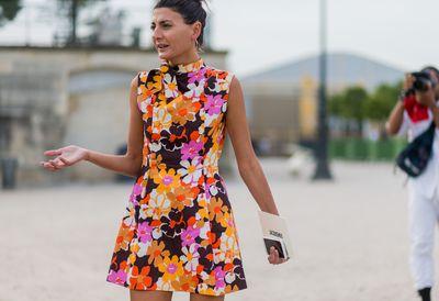 Giovanna Battaglia wearing a dress with floral print outside Jacquemus, Paris Fashion Week