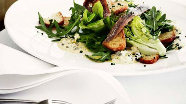 Cos and rocket salad with anchovies and sauce gribiche
