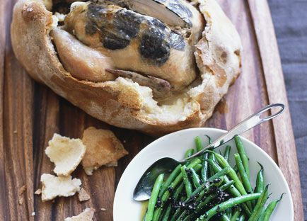 Salt-baked truffled chicken with warm green bean and truffle salad