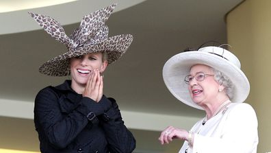Queen Elizabeth and Zara Tindall on the royal balcony during Ladies Day on day three of Royal Ascot.