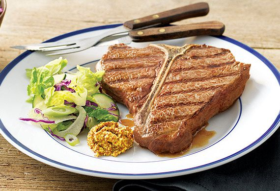 The Honey Badger's chargrilled T-bone steak with seeded mustard